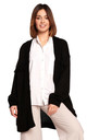 Open Front Cardigan with Fringe in Black by MOE