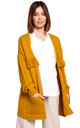 Open Front Cardigan with Fringe in Yellow by MOE