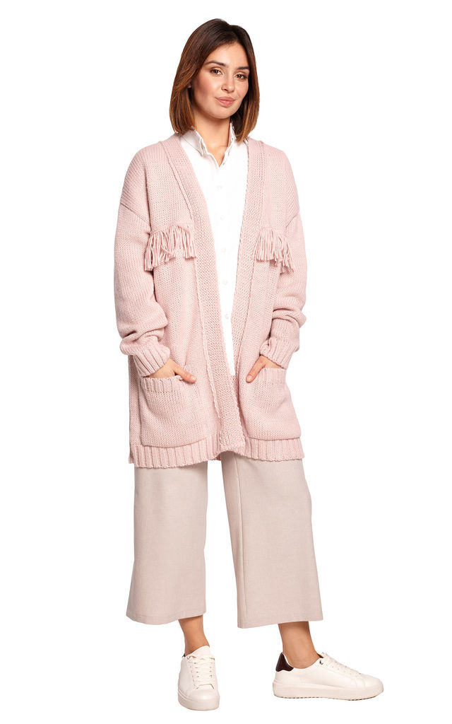 Open Front Cardigan with Fringe in Powder Pink by MOE
