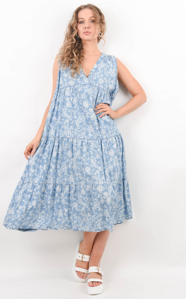 Light Blue Sleeveless Tiered Floral Denim Dress by Boutique Store