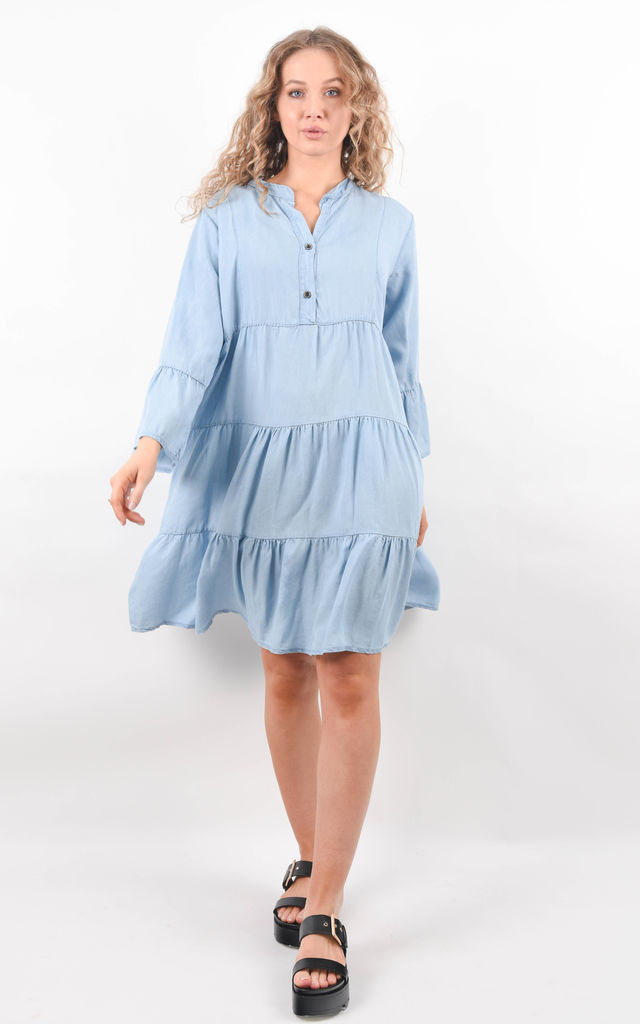 Light Blue Denim Tiered Smock Dress by Boutique Store