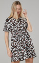 Women's Smock Sundress in Brown Panthera Print by Chelsea Clark
