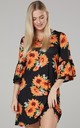 Women's Jersey Tunic Shift Dress with Frills in Black with Flowers by Chelsea Clark