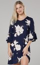 Women's Jersey Tunic Shift Dress with Frills in Navy with Flowers by Chelsea Clark