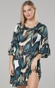 Women's Jersey Tunic Shift Dress with Frills in Large Leaves Print by Chelsea Clark