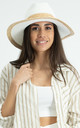 Woven hat with Rattan details in White by Hey You London