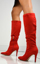 Savvy Stiletto Heeled Boots In Red Faux Suede by XY London