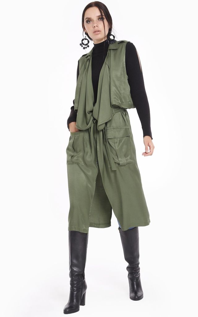 Asymmetric Cut Khaki Stylish Gilet by Pineapple