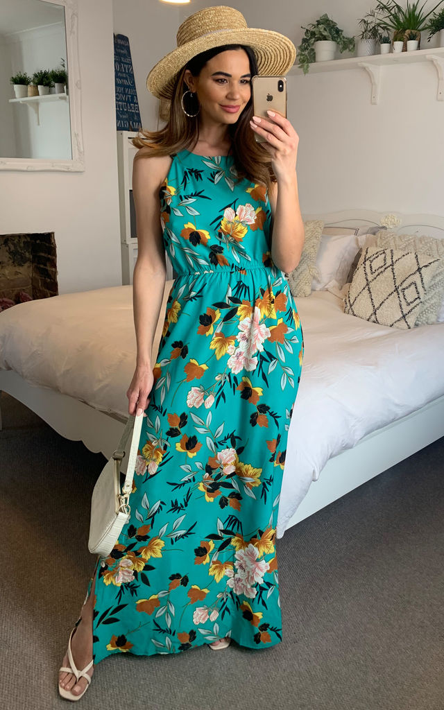 Halter Neck Tropical Flower Maxi Dress in Green by TENKI LONDON
