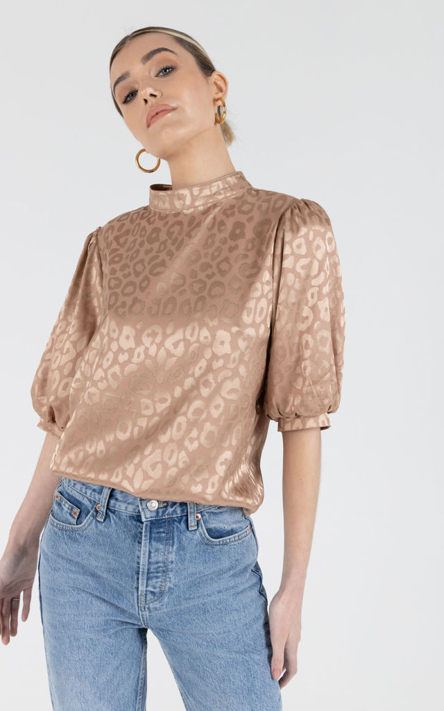 Nickolla Camel Satin Top by Zibi London