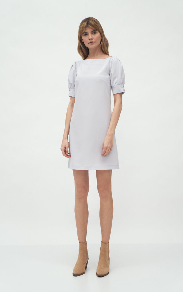 Mini Dress with Puffed Short Sleeve in Grey by so.Nife