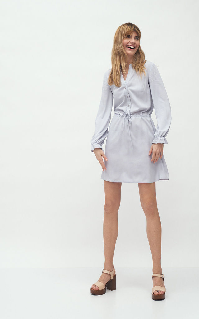 Viscose Shirt Dress Tied at Waist in Grey by so.Nife