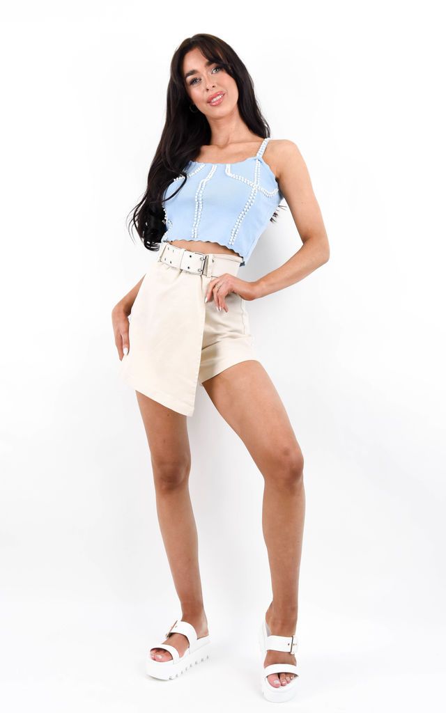 Blue Pearl Embellished Lettuce Edge Crop Top by Boutique Store