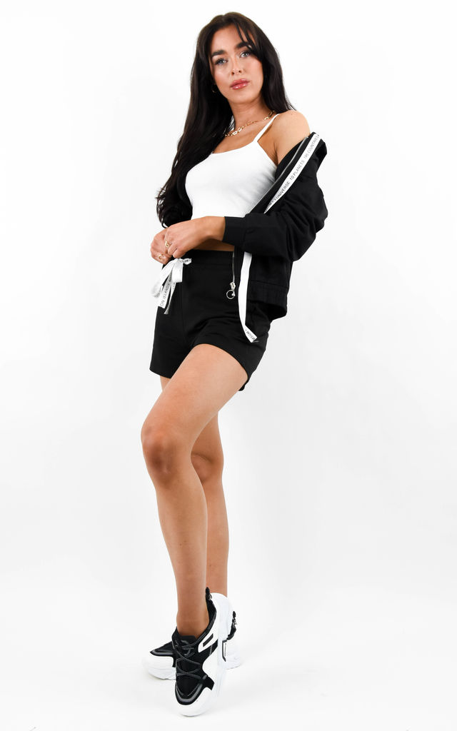 Black 3 Piece Hoodie Cami & Shorts Lounge Set by Boutique Store