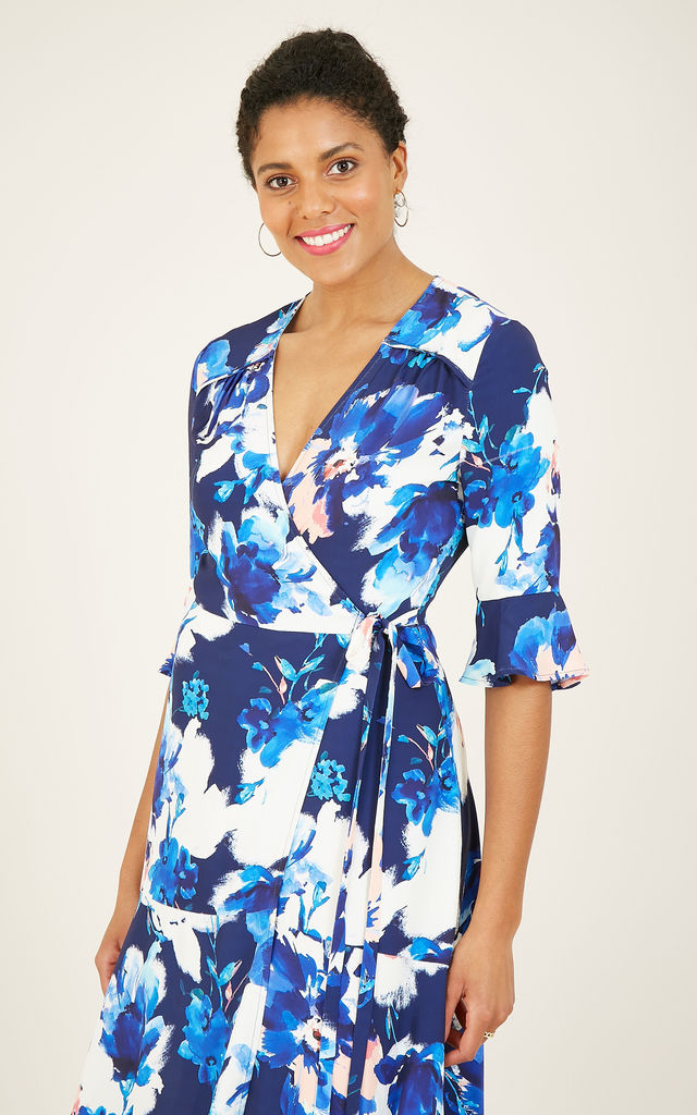 Watercolour Floral Midi Wrap Dress In Blue by Yumi