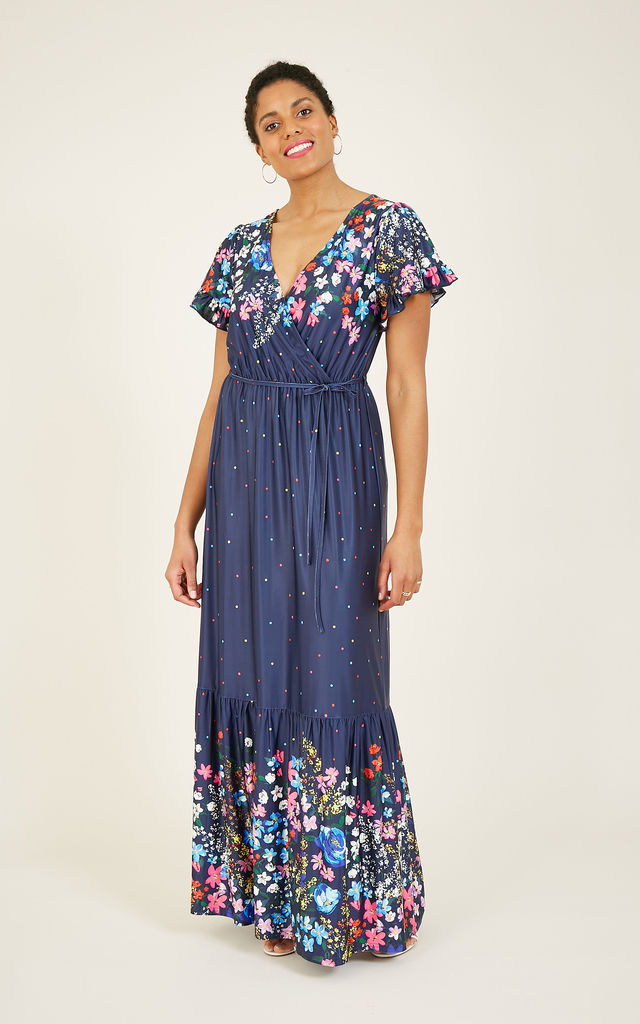 Floral Spotted Jersey Maxi Dress In Navy by Yumi