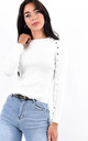 White Button Detail Long Sleeve Ribbed Top by Boutique Store