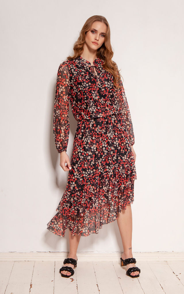 Asymmetric Dress Tied at Neck in Red Floral Print by Lanti