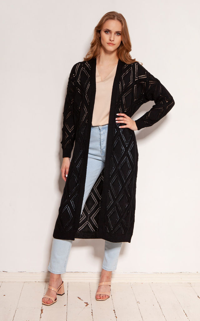 Long Cardigan with Open Front in Black by Lanti