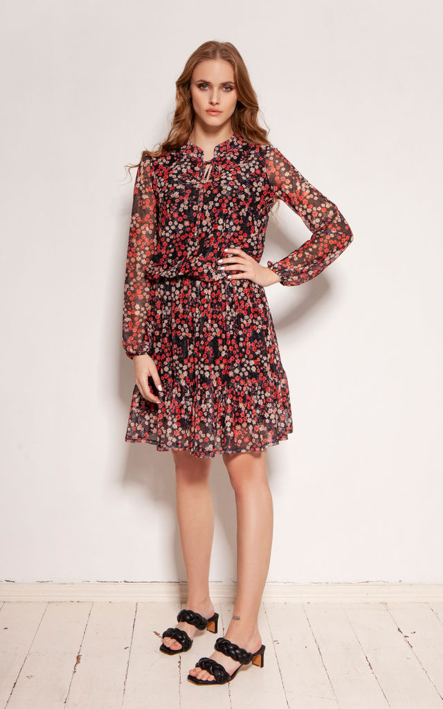 Mini Dress with Ruffles in Red Floral Pattern by Lanti
