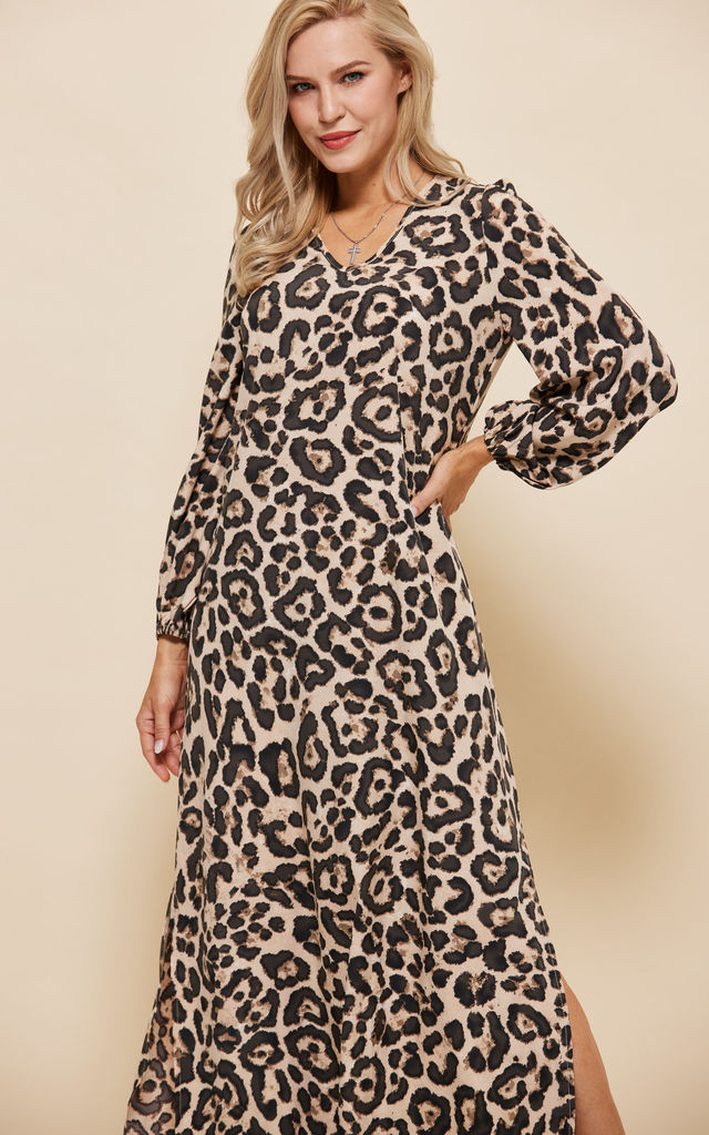 Leopard Print Boho Maxi Dress by LooBees Boutique
