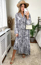 Tiger Print Long Sleeve Panel Maxi Dress in Grey by KURT MULLER