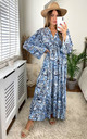 Tiger Print Long Sleeve Panel Maxi Dress in Blue by KURT MULLER