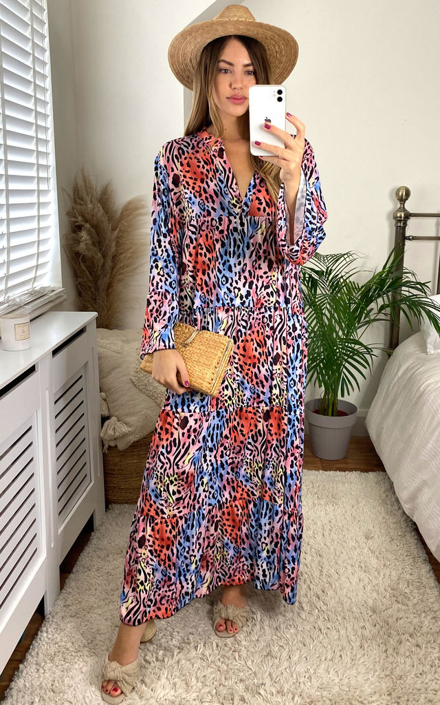 Funky Animal Print Long Sleeve Panel Maxi Dress in Orange by KURT MULLER