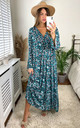Floral Print Long Sleeve Panel Maxi Dress in Green by KURT MULLER