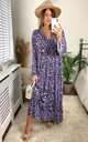 Floral Print Long Sleeve Panel Maxi Dress in Purple by KURT MULLER