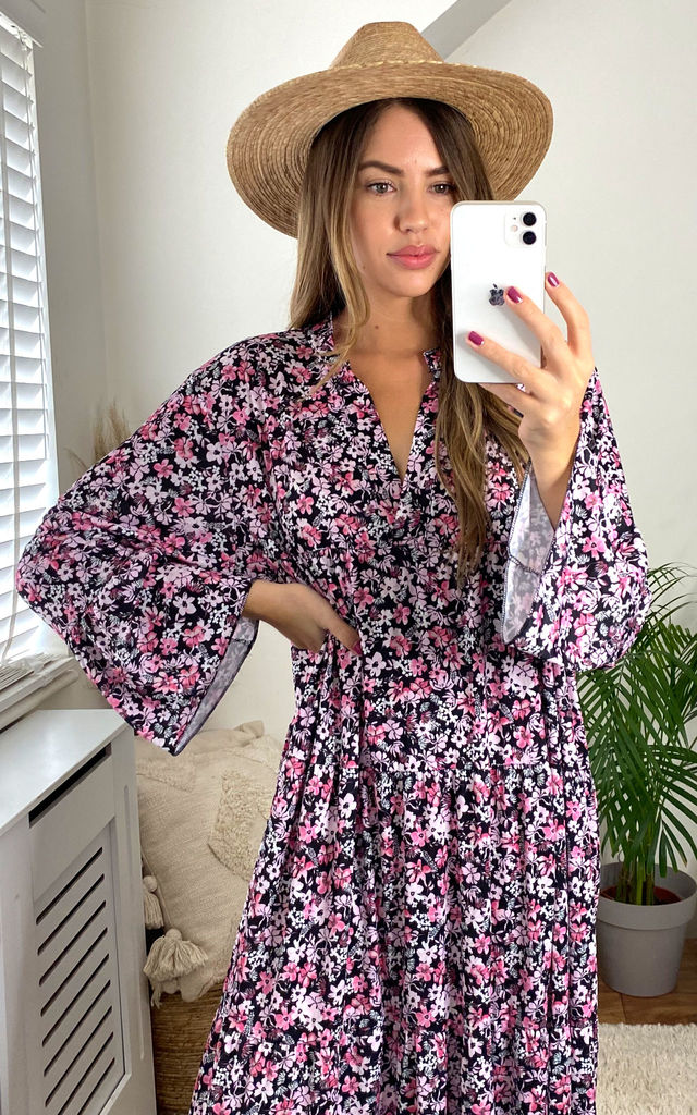 Floral Print Long Sleeve Panel Maxi Dress in Pink by KURT MULLER