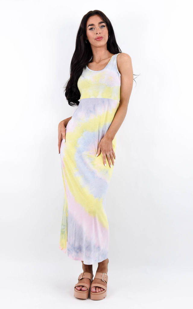 Yellow Multicolour Tie Dye Side Split Maxi Dress by Boutique Store