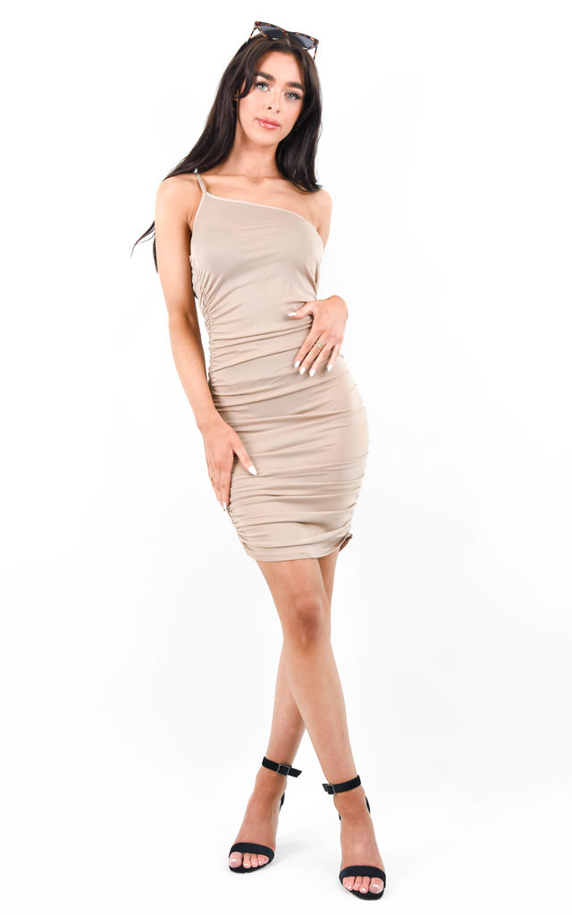 Taupe One Strap Ruched Bodycon Dress by Boutique Store