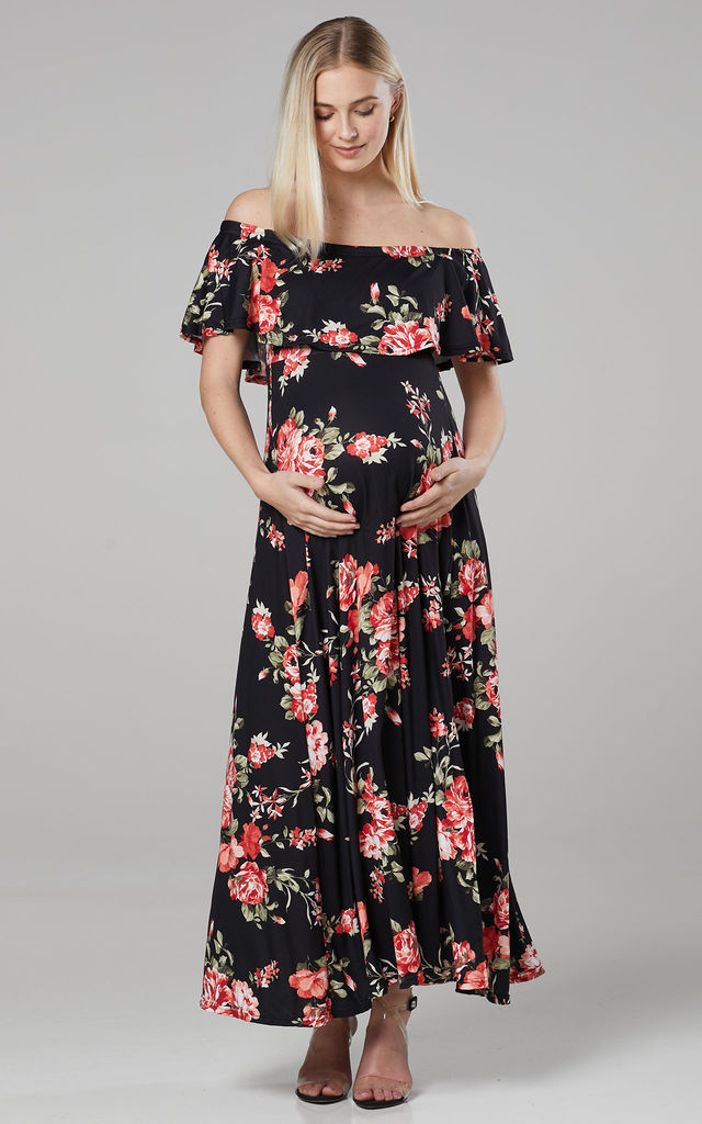 Women's Maternity Off the Shoulder Maxi Dress in Black by Chelsea Clark