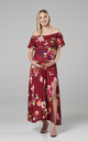 Women's Maternity Off the Shoulder Maxi Dress in Red by Chelsea Clark