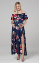 Women's Maternity Off the Shoulder Maxi Dress in Navy by Chelsea Clark