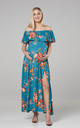 Women's Maternity Off the Shoulder Maxi Dress in Blue by Chelsea Clark