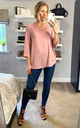 Oversized Blouse with Collar Details in Pink by HOXTON GAL