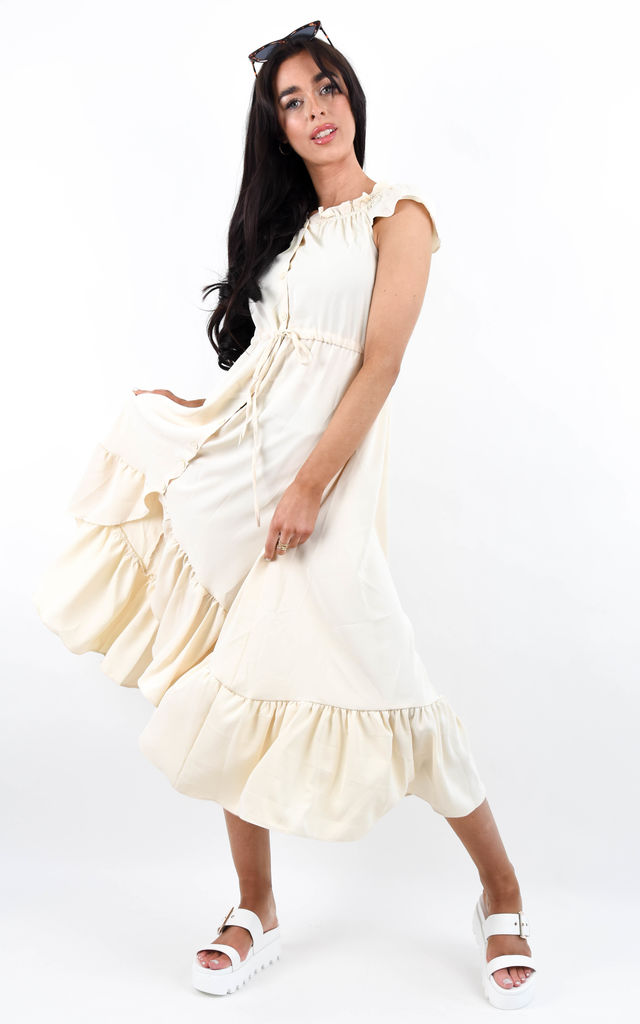 Frill Trim High Low Hem Midi Dress by Boutique Store