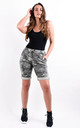 Khaki Camouflage Print Stretchy Magic Shorts by Boutique Store