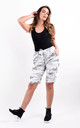 White Camouflage Print Stretchy Magic Shorts by Boutique Store
