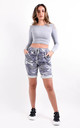 Denim Blue Camouflage Print Stretchy Magic Shorts by Boutique Store