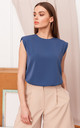 Sleeveless Top with Padded Shoulders in Blue by MOE
