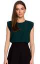 Sleeveless Top with Padded Shoulders in Green by MOE