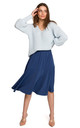 Midi Skirt with Ruffle in Blue by MOE