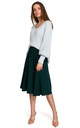 Midi Skirt with Ruffle in Green by MOE
