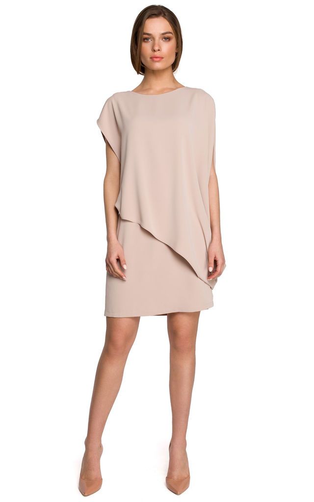 Layered Mini Dress in Beige by MOE