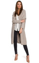 Long Open Front Oversized Cardigan in Beige by MOE