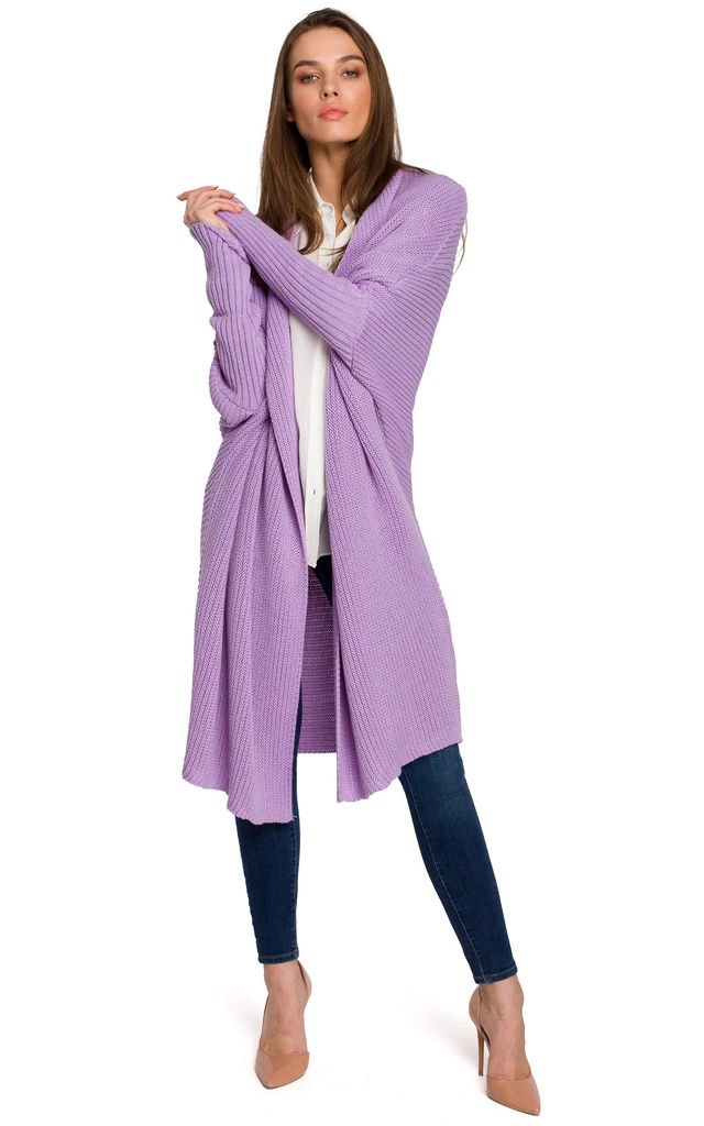 Long Open Front Oversized Cardigan in Purple by MOE