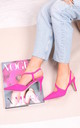 Berkeley Hot Pink Suede Court Heels with Wrap Around Sling Back by Linzi